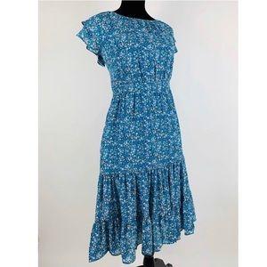 J.CREW Tiered Midi Floral Dress 6 Ruffle A line